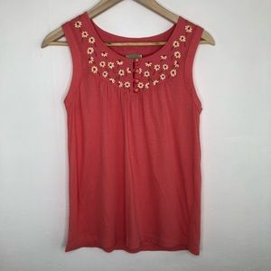 Anthro Little Yellow Button Licury Pink Tank